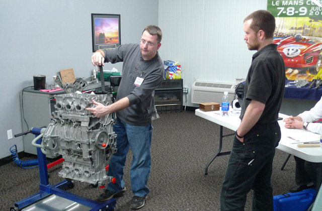 Jake teaching �M96 101� engine rebuild school at the Raby Engine Development learning center.